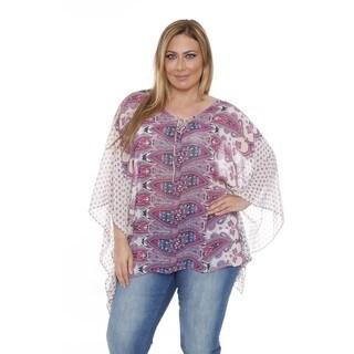 White Mark Women's Plus Size 'Breeze' Pink/ Blue Poncho Top Tunic