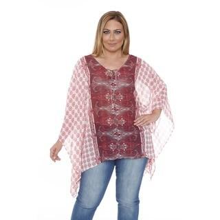 White Mark Women's Plus Size 'Breeze' Ivory/ Burgundy Poncho Top Tunic