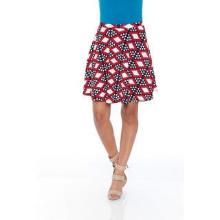 White Mark Women's Red/ Navy Flared Mini Skirt