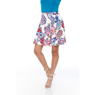 White Mark Women's Blue/ Pink Flowers Flared Mini Skirt