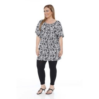 White Mark Women's Plus Size 'Thyra' Butterfly Dress  Tunic