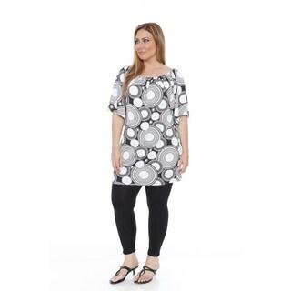 White Mark Women's Plus Size 'Thyra' Black and White Medallion Flowers Dress Tunic