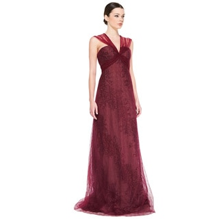 Rene Ruiz Claret Sleeveless Metallic Flocked Evening Gown