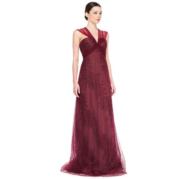 a0d75470c01a4 Shop Rene Ruiz Claret Sleeveless Metallic Flocked Evening Gown ...