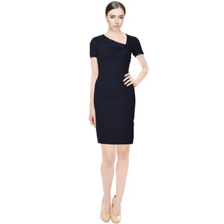 Rene Ruiz Navy Blue Asymmetric Neckline Short Sleeve Cocktail Dress