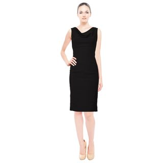 Rene Ruiz Black Sleeveless Cowl Neck Embroidered Sheath Cocktail Dress