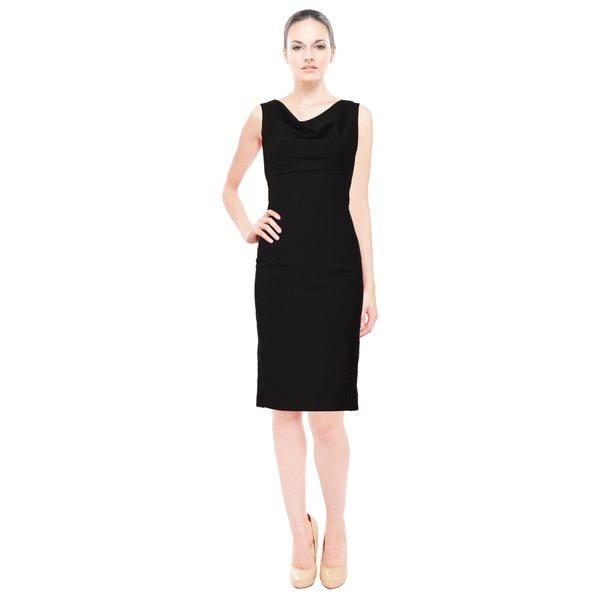 Cowl Neck Sheath Dresses: Shop Rene Ruiz Black Sleeveless Cowl Neck Embroidered