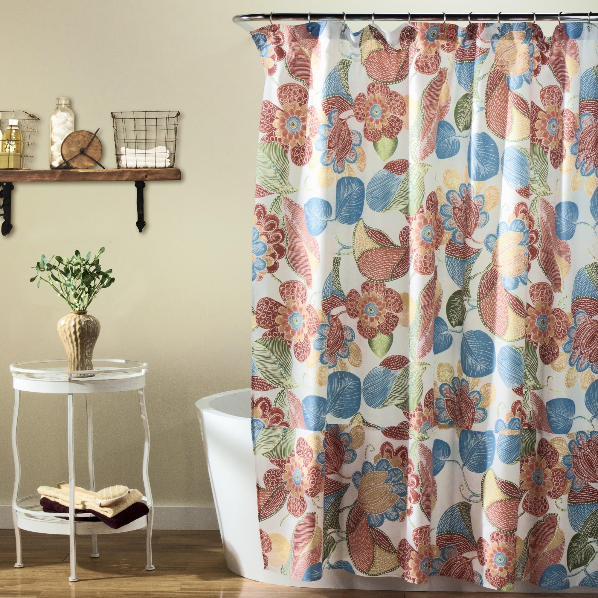 Lush Decor Layla Orange Blue Shower Curtain