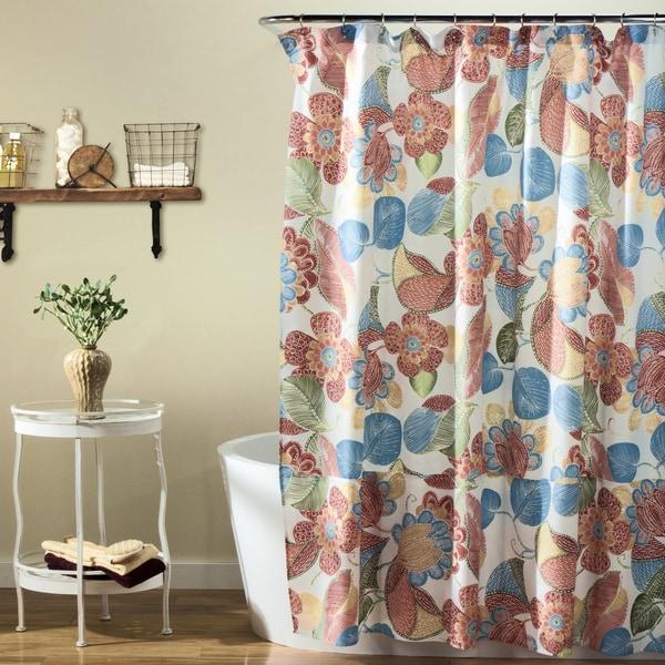 Lush Decor Layla Orange/ Blue Shower Curtain