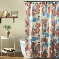 The Curated Nomad Lyon Orange and Blue Shower Curtain
