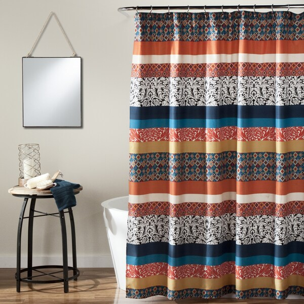 Shop The Curated Nomad Lyon Boho Stripe Shower Curtain