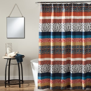 Lush Decor Boho Stripe Turquoise/ Orange Shower Curtain