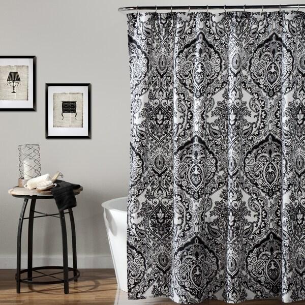 Lush Decor Aubree Black White Shower Curtain