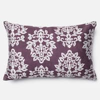 Elizabeth Plum/ Silver Damask 13 x 21 Throw Pillow or Pillow Cover