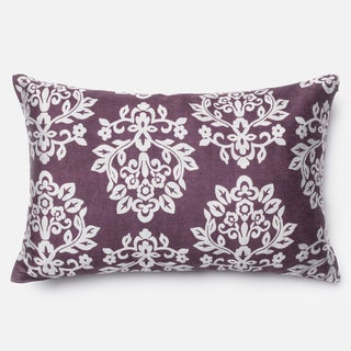 Elizabeth Plum/ Silver Damask Throw Pillow or Pillow Cover 13 x 21