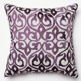 Adeline Grey/ Plum Ironwork Damask Feather and Down Filled or Polyester Filled 18-inch Throw Pillow (3 options available)