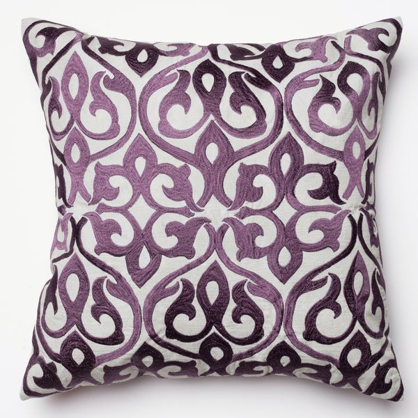 Adeline Grey Plum Ironwork Damask Feather And Down Filled