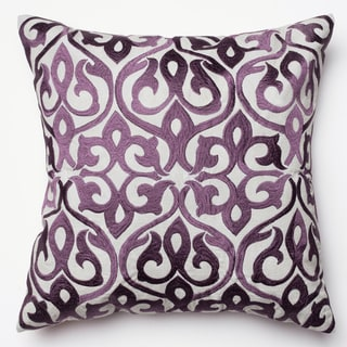 Adeline Grey/ Plum Ironwork Damask Feather and Down Filled or Polyester Filled 18-inch Throw Pillow