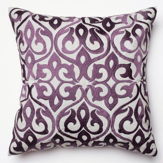 Adeline Grey/Plum Ironwork Damask Feather and Down Filled 18-inch Throw Pillow (3 options available)