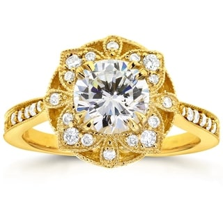 Annello by Kobelli 14k Yellow Gold Round Moissanite and 1/4ct TDW Diamond Antique Floral Engagement