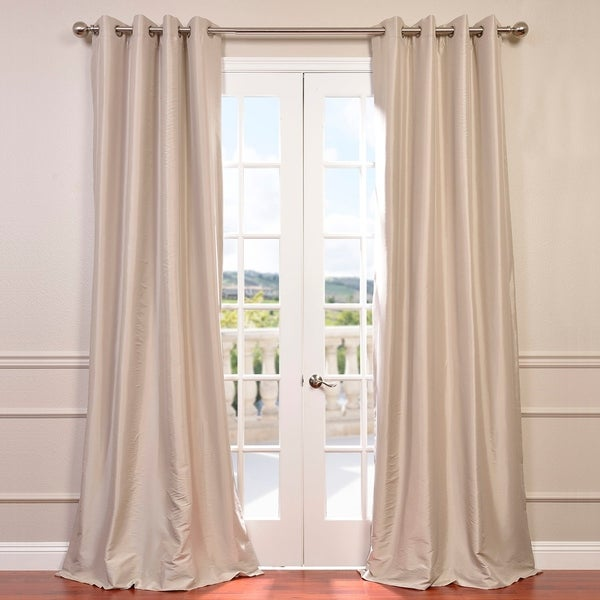 Exclusive Fabrics Grommet Blackout Faux Silk Taffeta 108-inch Length Curtain Panel - 50 X 108