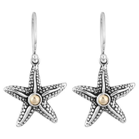 Handmade Gold & Sterling Silver 'Balinese Starfish' Cawi Earrings (Indonesia)