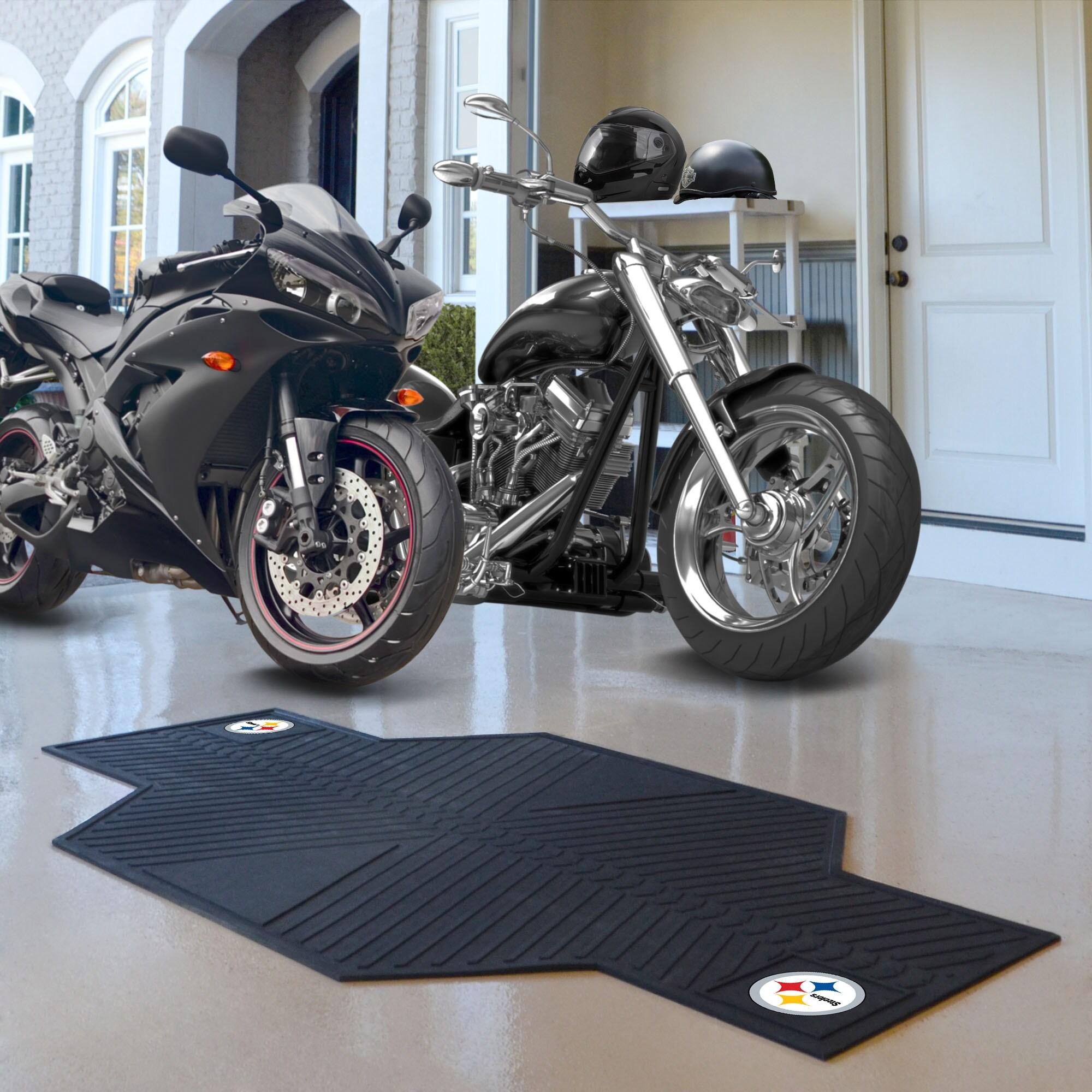 Fan Mats Pittsburgh Steelers Black Rubber Motorcycle Mat ...