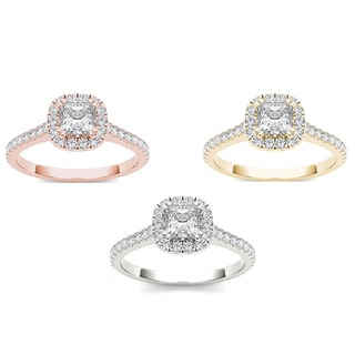 De Couer 14k Gold 7/8ct TDW Diamond Double Halo Engagement Ring
