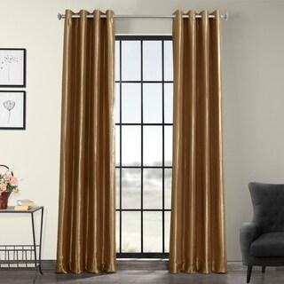 Exclusive Fabrics Grommet Blackout Faux Silk Taffeta 96-inch Length Curtain Panel (Gold Nugget - 50 x 96)