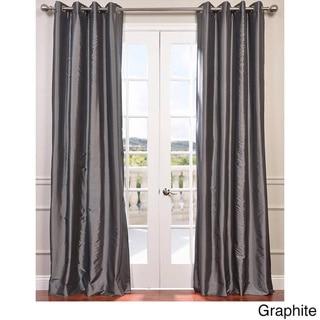 Exclusive Fabrics Grommet Blackout Faux Silk Taffeta 96-inch Length Curtain Panel (Graphite - 50 x 96)