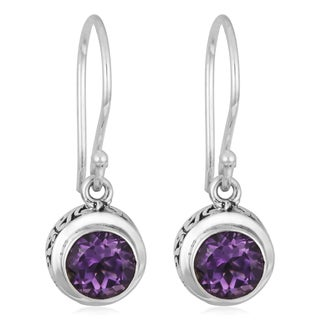 Handmade Sterling Silver Amethyst Cawi Round Dangle Earrings (Indonesia)