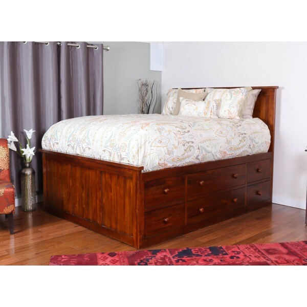Shop Somette Glendive Collection Dark Brown Mahogany Queen Size 9