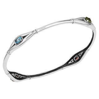Sterling Silver Multi-Gemstone 'Bamboo Cawi' Bangle Bracelet (Indonesia)