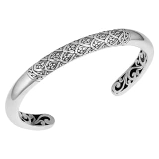Handmade Sterling Silver 'Rain Forrest' Cawi Cuff Bracelet (Indonesia)