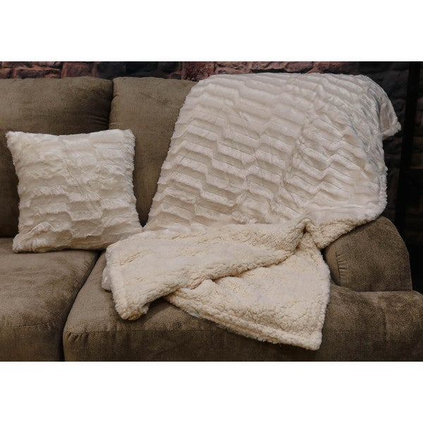 Somette Brushed Faux Fur Throw and Pillow Set