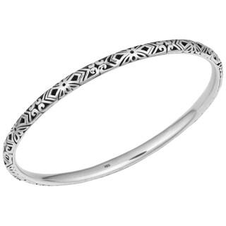 Handmade Sterling Silver Bali Art Cawi Bangle Bracelet (Indonesia)