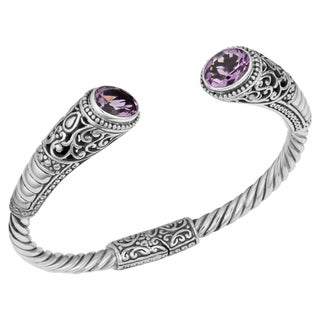 Handmade Sterling Silver Amethyst Cawi Cuff Bracelet (Indonesia)