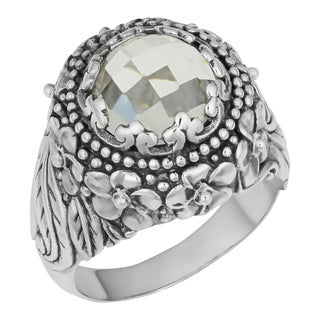 Sterling Silver Green Amethyst 'Balinese Garden' Ring (Indonesia)