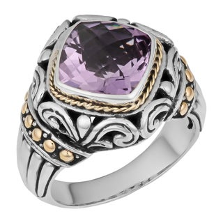 Handmade 18K Gold and Sterling Silver Amethyst Cawi Ring (Indonesia)