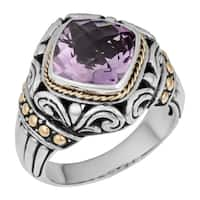 Handmade Gold over Sterling Silver Amethyst Cawi Ring (Indonesia)
