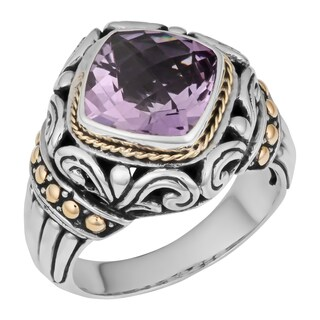 Handmade Gold over Sterling Silver Amethyst Cawi Ring (Indonesia) (2 options available)