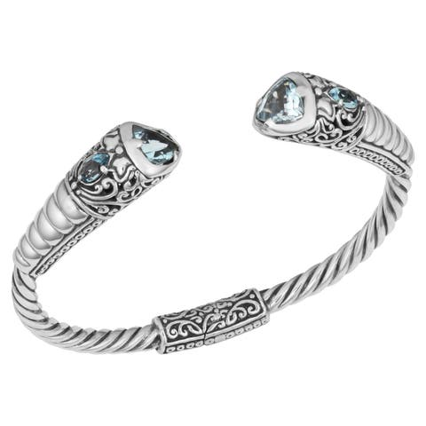 Handmade Blue Topaz Sterling Silver 'Balinese Cawi' Cuff Bracelet (Indonesia)