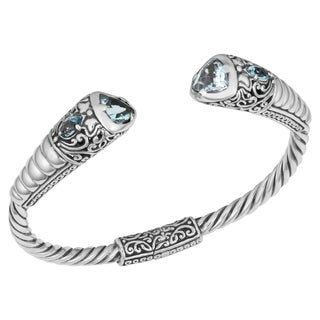 Blue Topaz Sterling Silver 'Balinese Cawi' Cuff Bracelet (Indonesia)