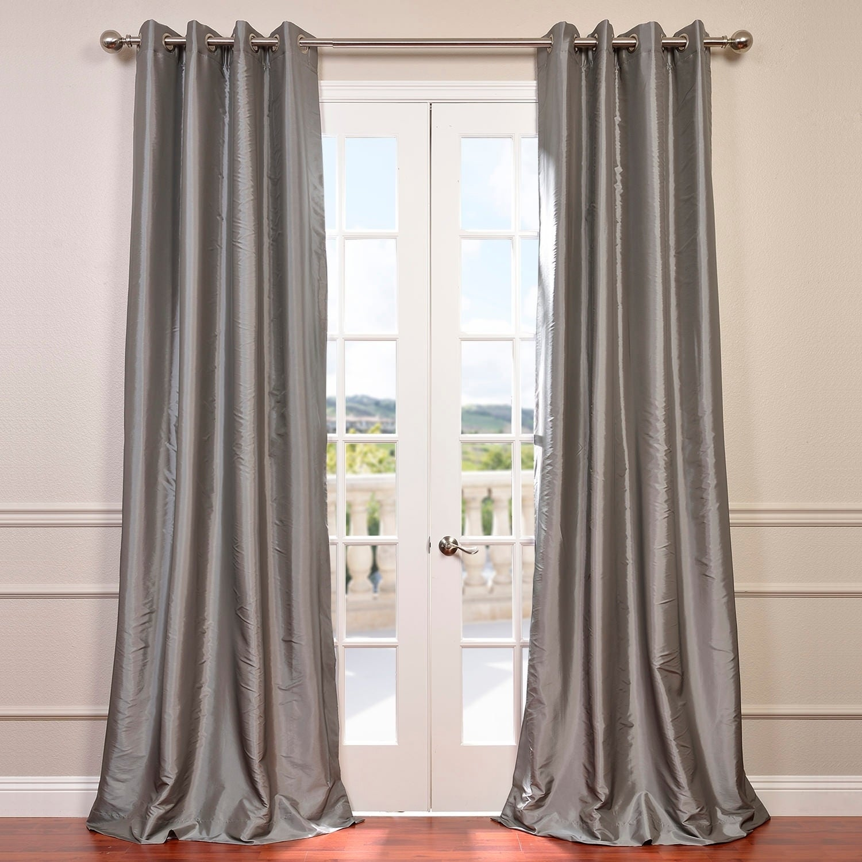 exclusive fabrics grommet blackout faux silk taffeta 84 inch length curtain ebay. Black Bedroom Furniture Sets. Home Design Ideas
