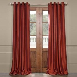 Exclusive Fabrics Grommet Blackout Faux Silk Taffeta 84-inch Length Curtain Panel - 50 X 84