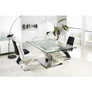 Diamond Collection Steel and Glass Dining Table by Casabianca Home - Silver