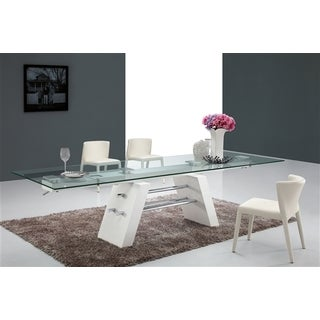 Casabianca Home Evolution Collection Glass Dining Table - White
