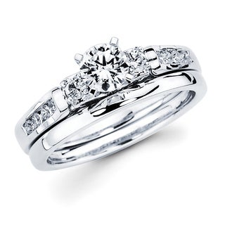 Boston Bay Diamonds 14k White Gold 3/4ct TDW Diamond Bridal Set (G-H, SI1-SI2)