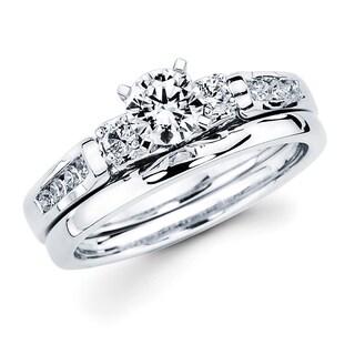 Boston Bay Diamonds 14k White Gold 3/4ct TDW Diamond Bridal Set