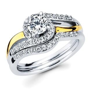Boston Bay Diamonds 14k Two-tone Gold 7/8ct TDW Diamond Bridal Set (G-H, SI1-SI2)